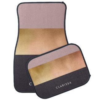 elegant bright rose gold pink grey color block car mat