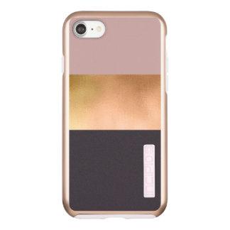 elegant bright rose gold pink grey color block incipio DualPro shine iPhone 8/7 case