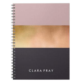 elegant bright rose gold pink grey color block notebook