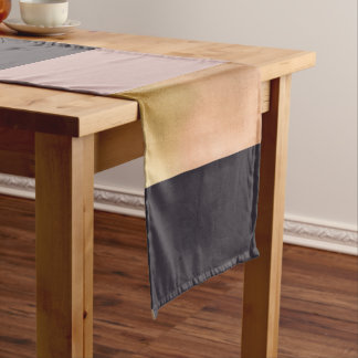 elegant bright rose gold pink grey color block short table runner