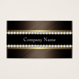 Elegant Bronze Chocolate Black Coffee Diamond Business Card