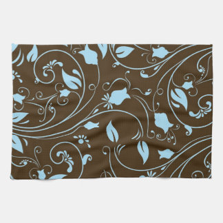 Elegant Brown and Baby Blue Floral Pattern Tea Towel