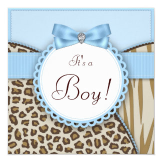Elegant Brown and Blue Baby Boy Shower Card