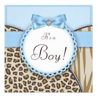 Elegant Brown and Blue Baby Boy Shower Invitations