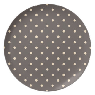 Elegant Brown and Cream Polka Dots Melamine Plate