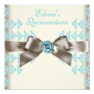 Elegant Brown and Teal Blue Quinceanera 13 Cm X 13 Cm Square Invitation Card