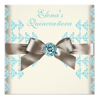 Elegant Brown and Teal Blue Quinceanera Card
