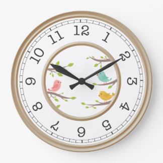 Elegant Brown and White Vintage Style Cute Birds Large Clock