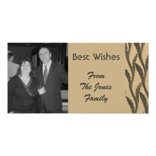 elegant brown biege branches personalized photo card