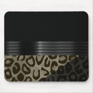 Elegant Brown Black Cheetah Mouse Pad