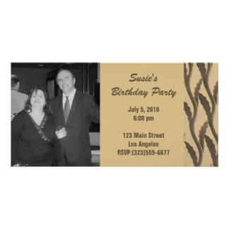 elegant brown branches Birthday Customised Photo Card