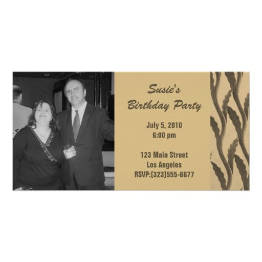elegant brown branches Birthday Photo Card