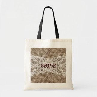 elegant brown burlap lace country wedding budget tote bag