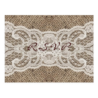 elegant brown burlap lace country wedding post cards