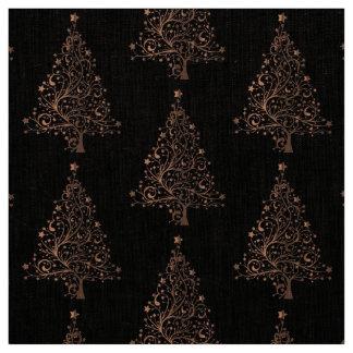 Elegant Brown Copper Christmas Tree Pattern Fabric