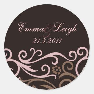 Elegant Brown & Cream Swirl Wedding Envelope Seal Round Sticker