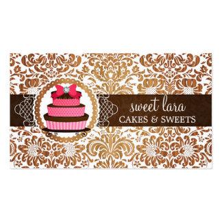 Elegant Brown Damask Pink Cake Diamond Bakery Business Card