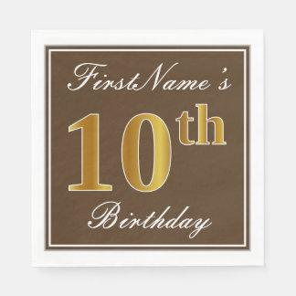 Elegant Brown, Faux Gold 10th Birthday + Name Disposable Napkins