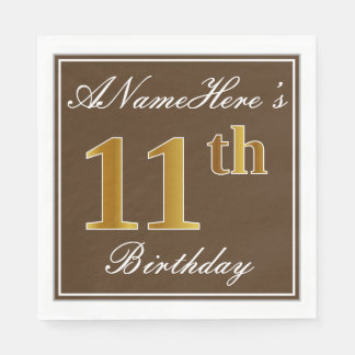 Elegant Brown, Faux Gold 11th Birthday + Name Disposable Serviette