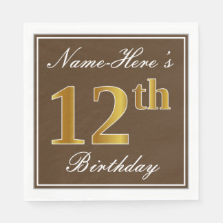 Elegant Brown, Faux Gold 12th Birthday + Name Paper Napkins