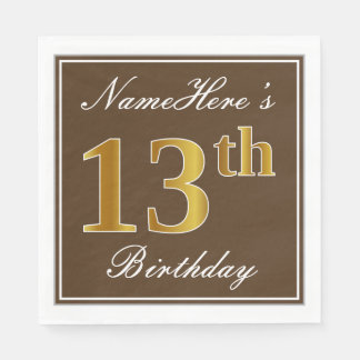 Elegant Brown, Faux Gold 13th Birthday + Name Paper Napkins