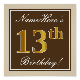 Elegant, Brown, Faux Gold 13th Birthday + Name Poster