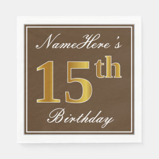 Elegant Brown, Faux Gold 15th Birthday + Name Disposable Serviettes