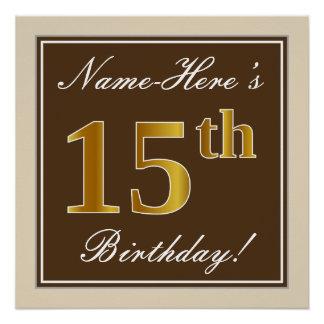 Elegant, Brown, Faux Gold 15th Birthday + Name Poster
