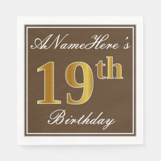 Elegant Brown, Faux Gold 19th Birthday + Name Disposable Serviette