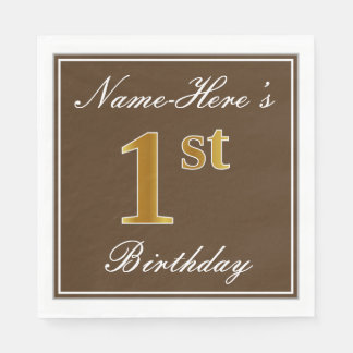 Elegant Brown, Faux Gold 1st Birthday; Custom Name Disposable Napkin