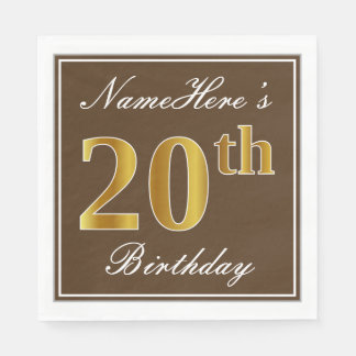 Elegant Brown, Faux Gold 20th Birthday + Name Disposable Serviettes