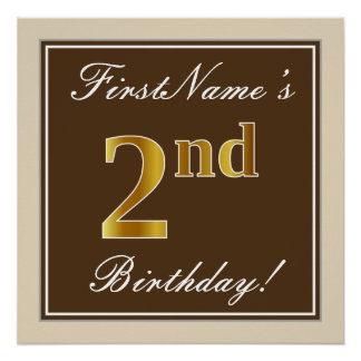 Elegant, Brown, Faux Gold 2nd Birthday + Name Poster