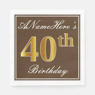 Elegant Brown, Faux Gold 40th Birthday + Name Disposable Napkin