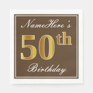 Elegant Brown, Faux Gold 50th Birthday + Name Paper Napkins