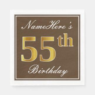 Elegant Brown, Faux Gold 55th Birthday + Name Disposable Serviette