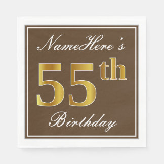 Elegant Brown, Faux Gold 55th Birthday + Name Paper Napkins