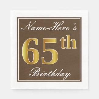 Elegant Brown, Faux Gold 65th Birthday + Name Disposable Serviettes