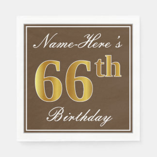 Elegant Brown, Faux Gold 66th Birthday + Name Disposable Serviette