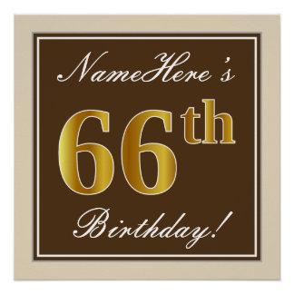 Elegant, Brown, Faux Gold 66th Birthday + Name Poster