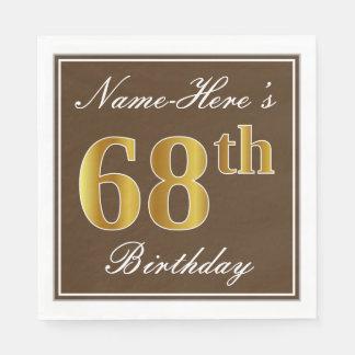 Elegant Brown, Faux Gold 68th Birthday + Name Disposable Napkins
