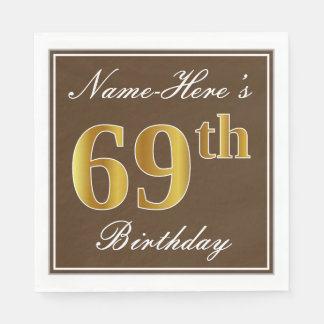Elegant Brown, Faux Gold 69th Birthday + Name Paper Napkin