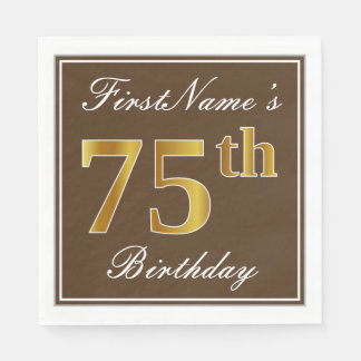 Elegant Brown, Faux Gold 75th Birthday + Name Disposable Serviette