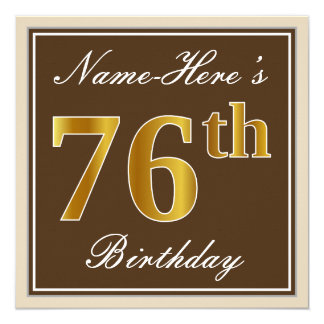 Elegant, Brown, Faux Gold 76th Birthday + Name Card
