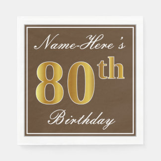 Elegant Brown, Faux Gold 80th Birthday + Name Paper Napkins
