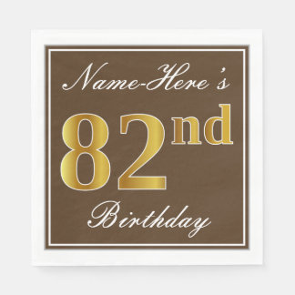 Elegant Brown, Faux Gold 82nd Birthday + Name Paper Napkin