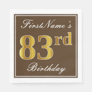 Elegant Brown, Faux Gold 83rd Birthday + Name Paper Napkins