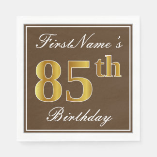 Elegant Brown, Faux Gold 85th Birthday + Name Disposable Serviettes