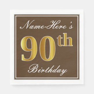 Elegant Brown, Faux Gold 90th Birthday + Name Paper Serviettes