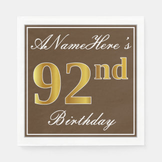 Elegant Brown, Faux Gold 92nd Birthday + Name Disposable Serviette