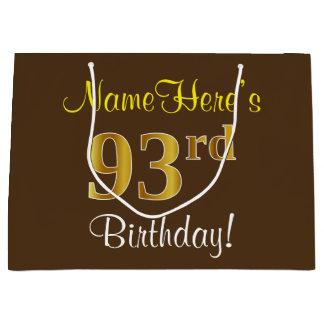 Elegant, Brown, Faux Gold 93rd Birthday + Name Large Gift Bag